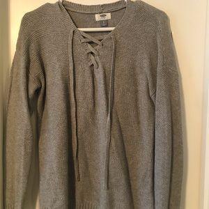 Grey, knit sweater